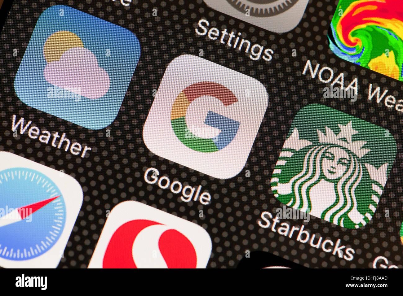 Google App en el iPhone - pantalla de EE.UU. Imagen De Stock