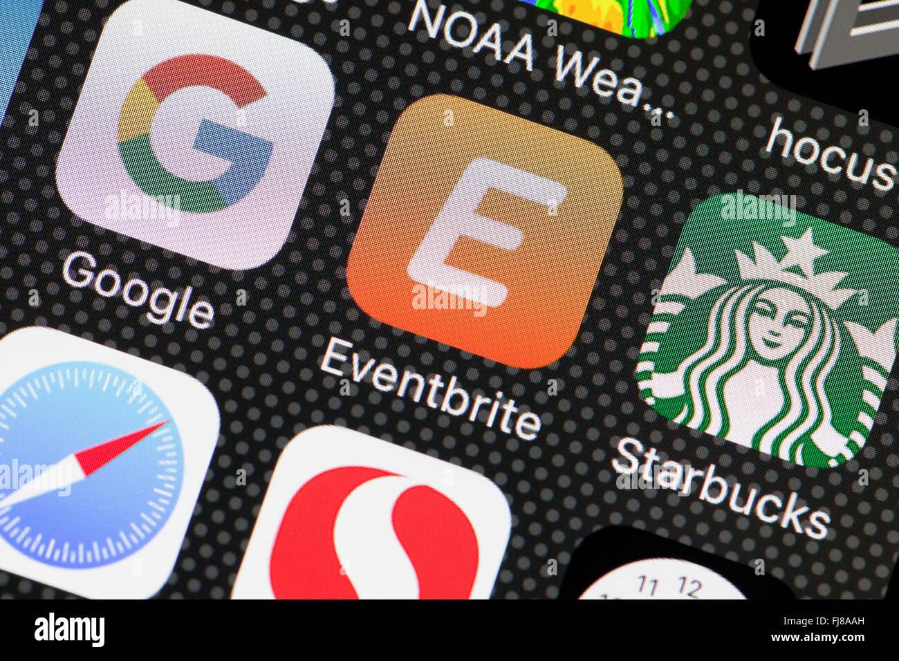Eventbrite app en el iPhone - pantalla de EE.UU. Imagen De Stock