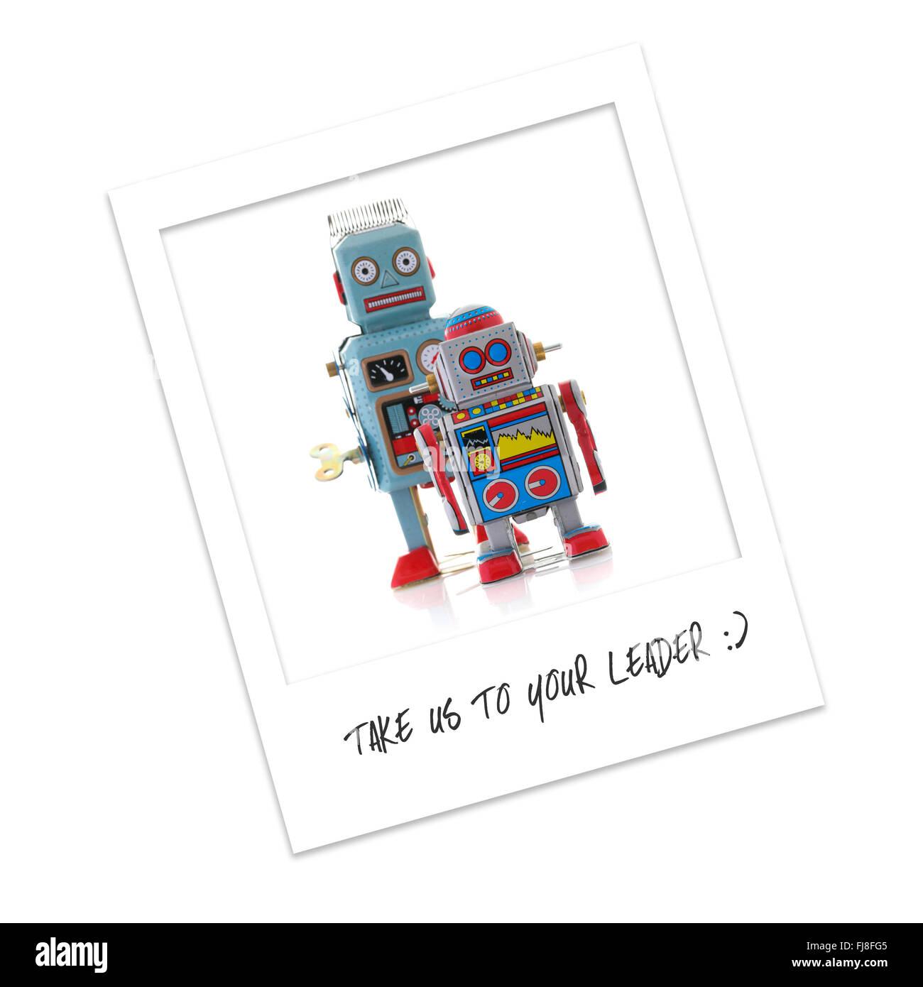 Fotografías Polaroid de Robots - nos llevan a su líder Foto de stock