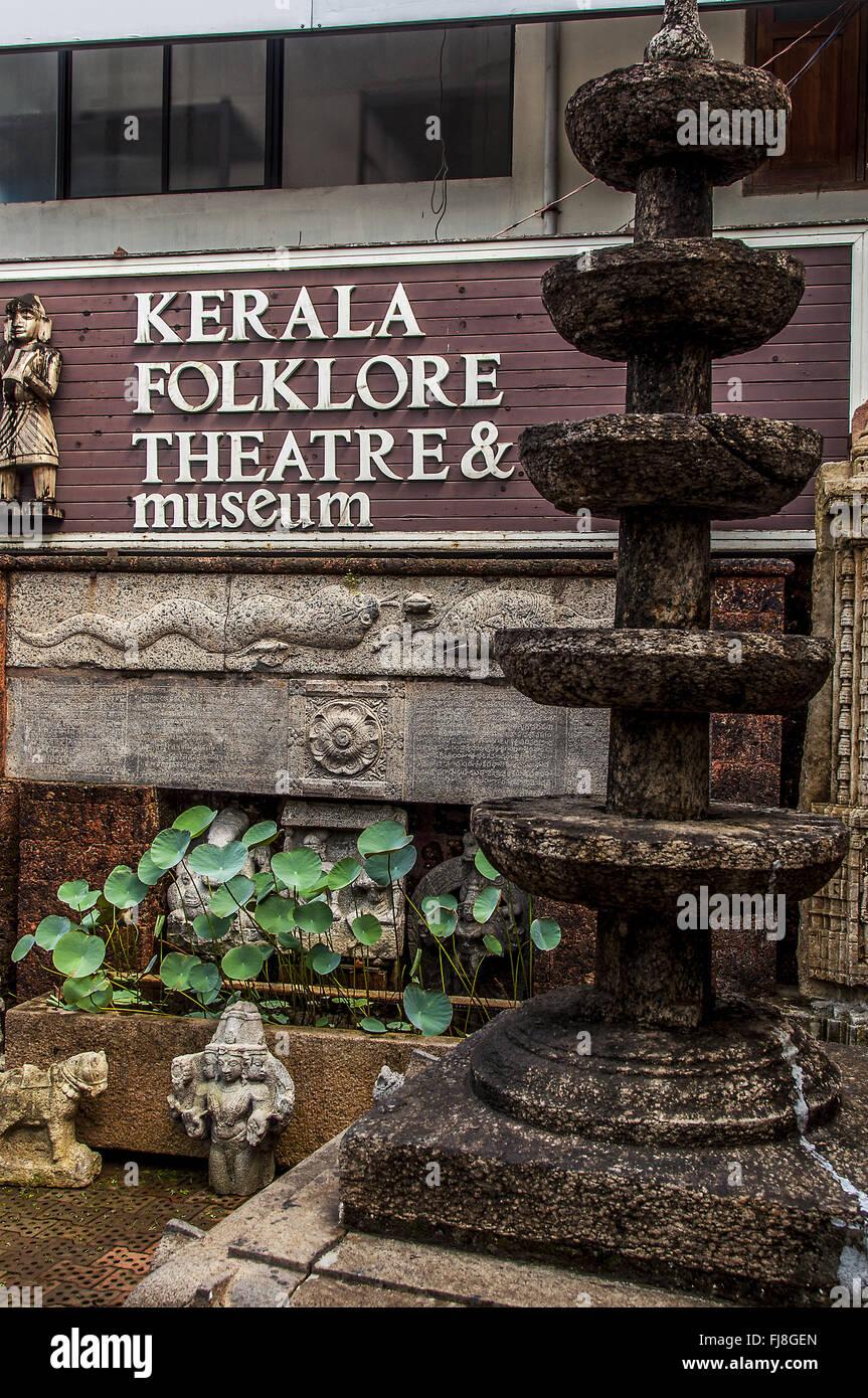 Teatro Museo de Folklore, thevara, Cochin, Kerala, India, Asia Imagen De Stock