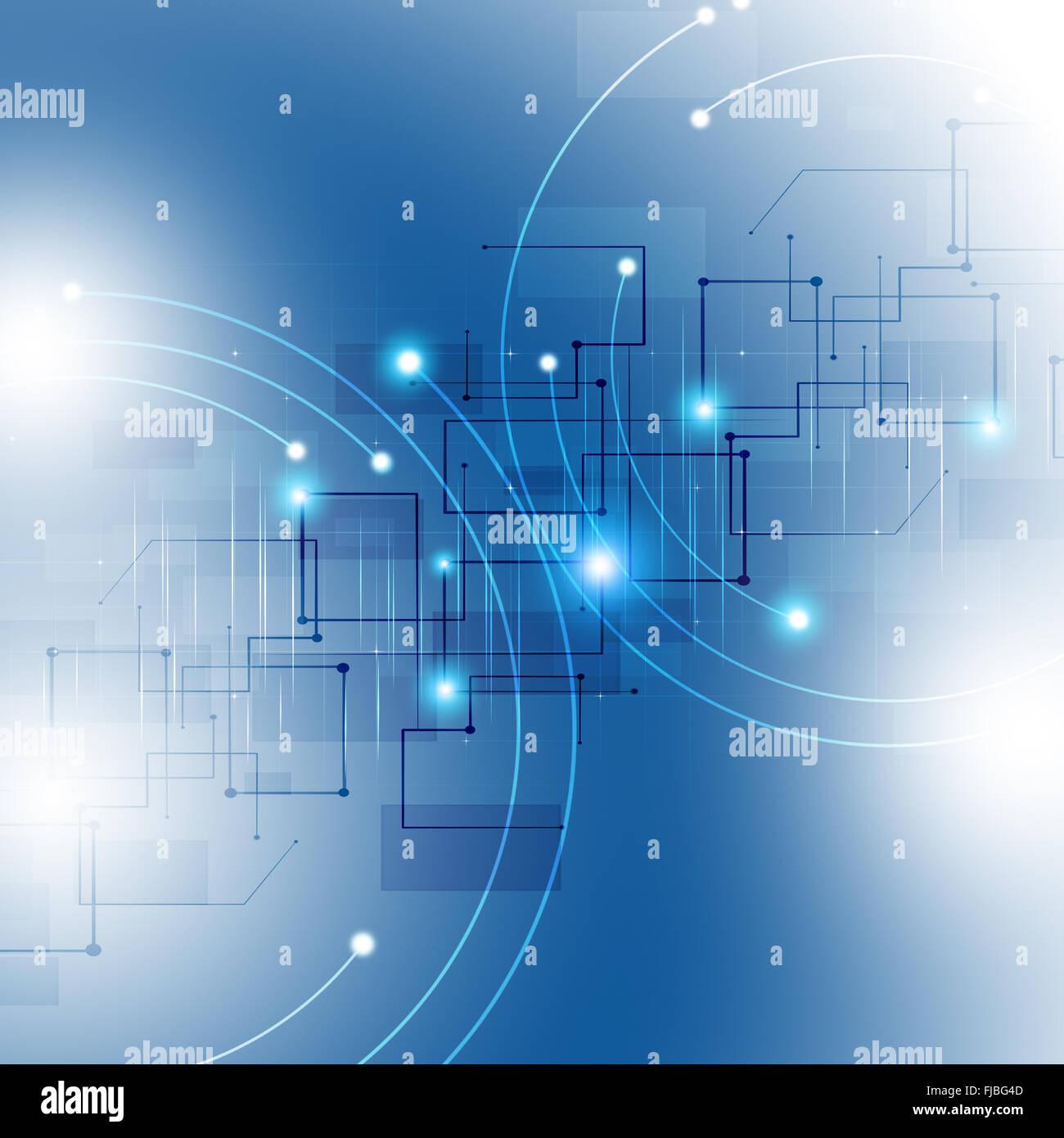 Conexión de red global de tecnología abstracto fondo azul Imagen De Stock