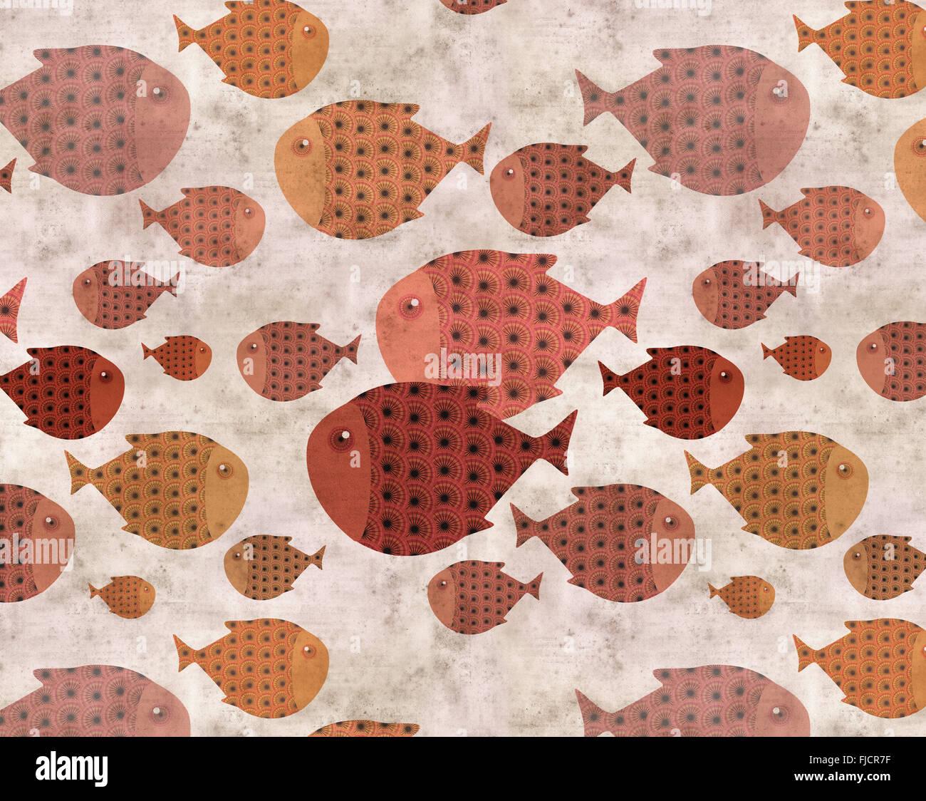 Ilustración de pescado antecedentes étnicos Imagen De Stock