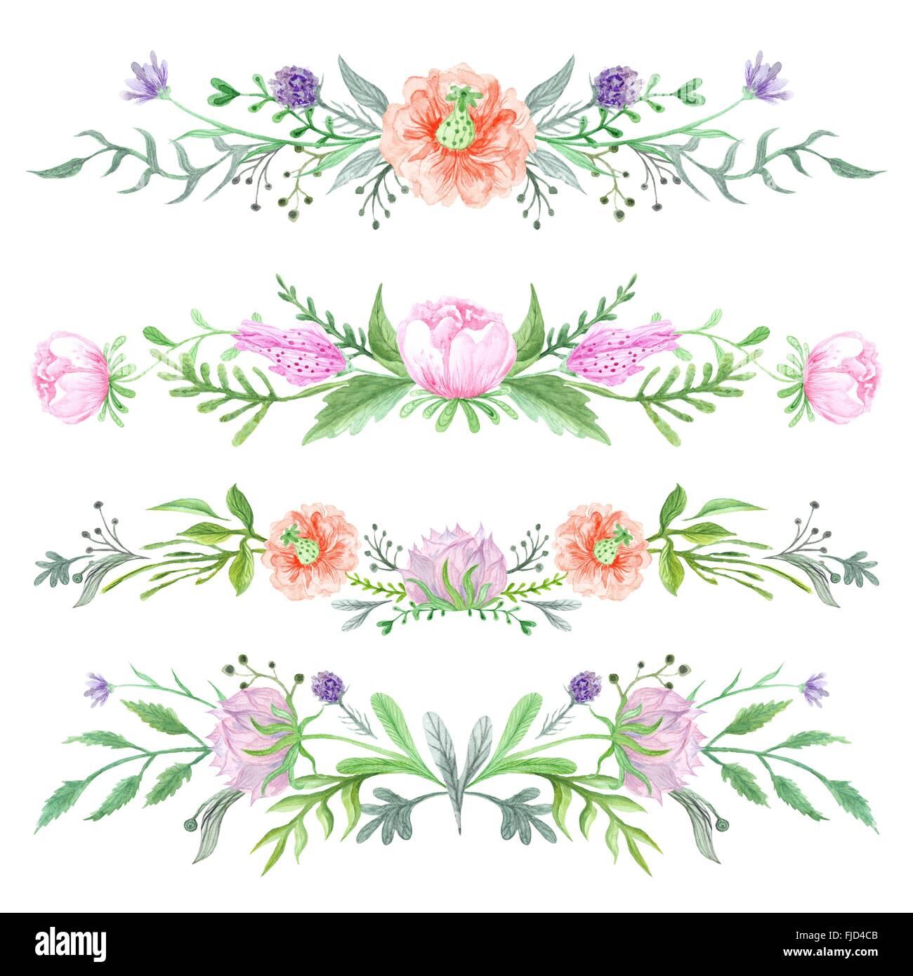 Romántico Elegante Fronteras Con Hierbas Silvestres Y Prados