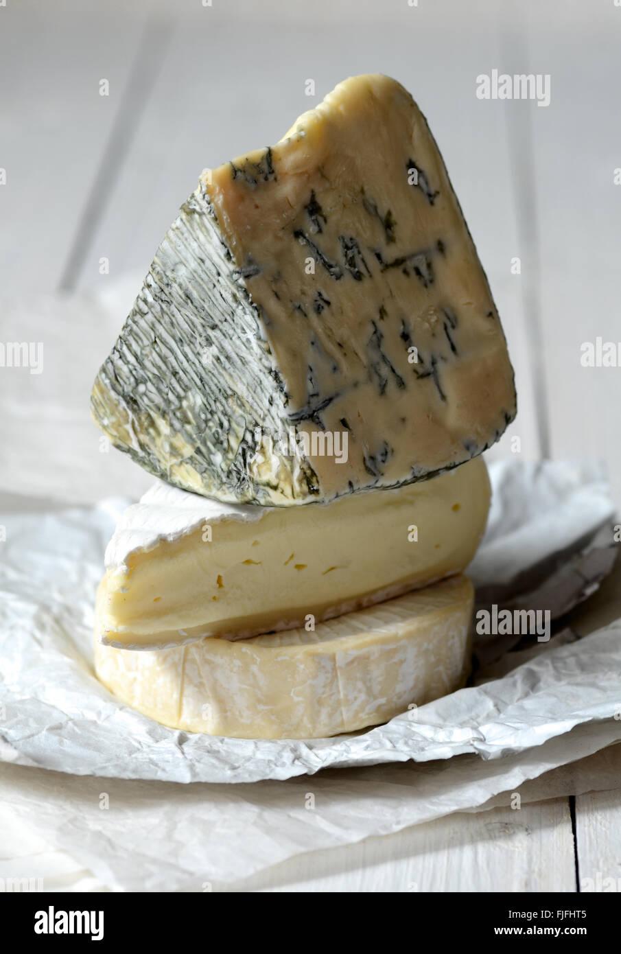 Los diferentes tipos de quesos: brie, camembert, queso azul Foto de stock