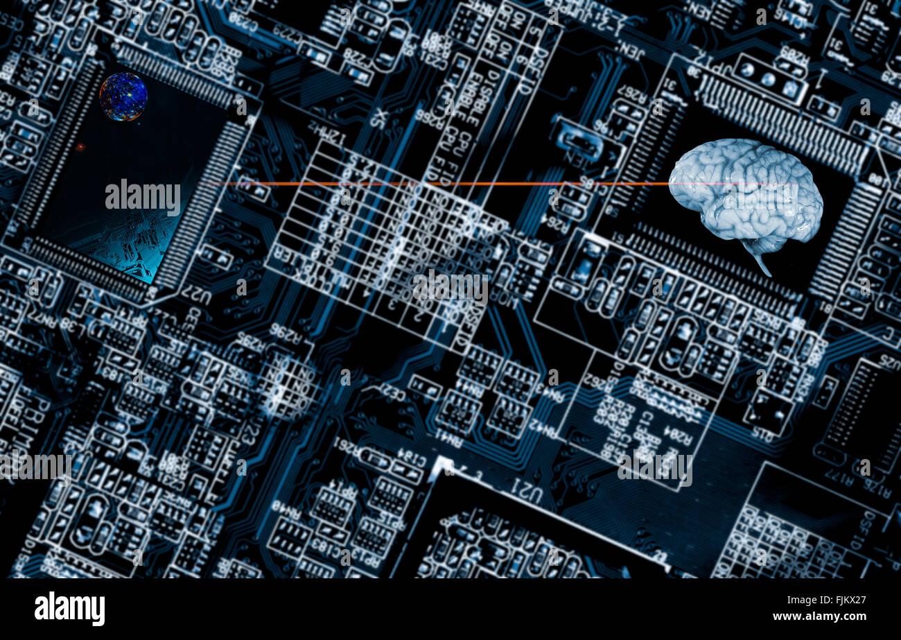 La inteligencia artificial y el cerebro humano Foto de stock