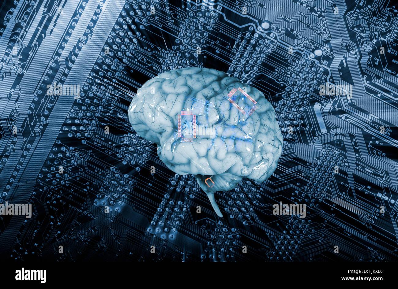 Cerebro Humano y comunicación, inteligencia artificial Foto de stock