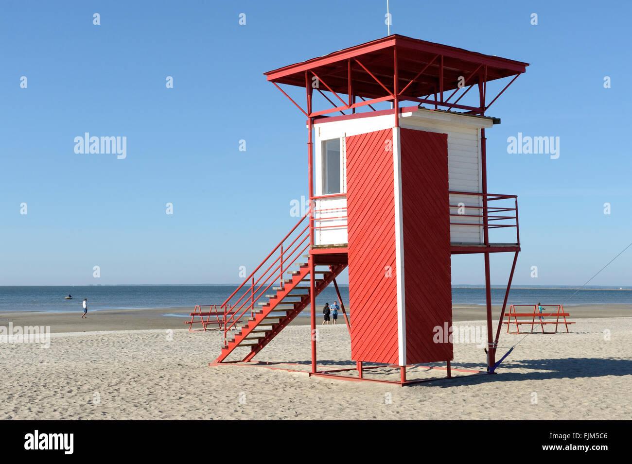 Geografía / viajes, Estonia, Pärnu, playas, outlook para socorristas, Vista exterior, Additional-Rights Imagen De Stock