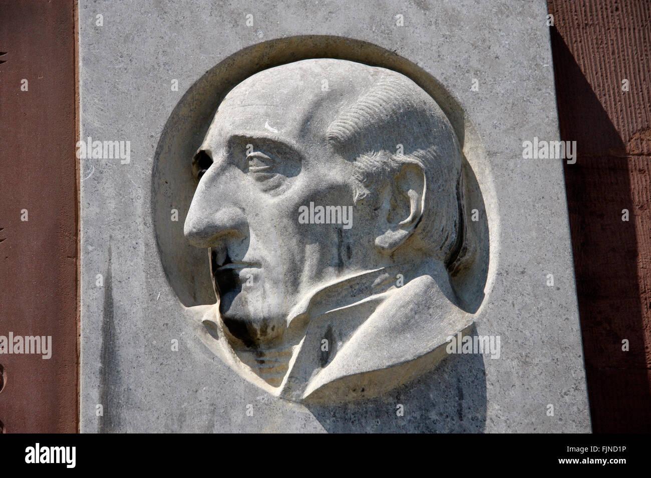 Profil von Freiherr von Stein an der Paulskirche, Frankfurt am Main. Foto de stock