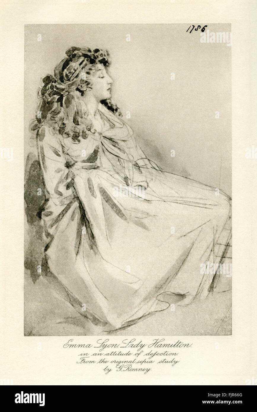 Emma Lady Hamilton (1765 - 1815) en una actitud de abatimiento. A partir de un estudio de sepia por George Romney. Imagen De Stock