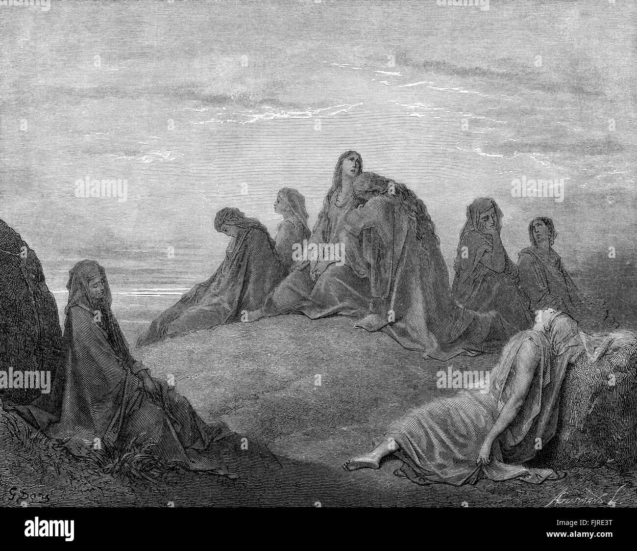 La hija de Jefté y sus compañeros (Jueces capítulo XI), ilustración de Gustave Doré (1832 Imagen De Stock