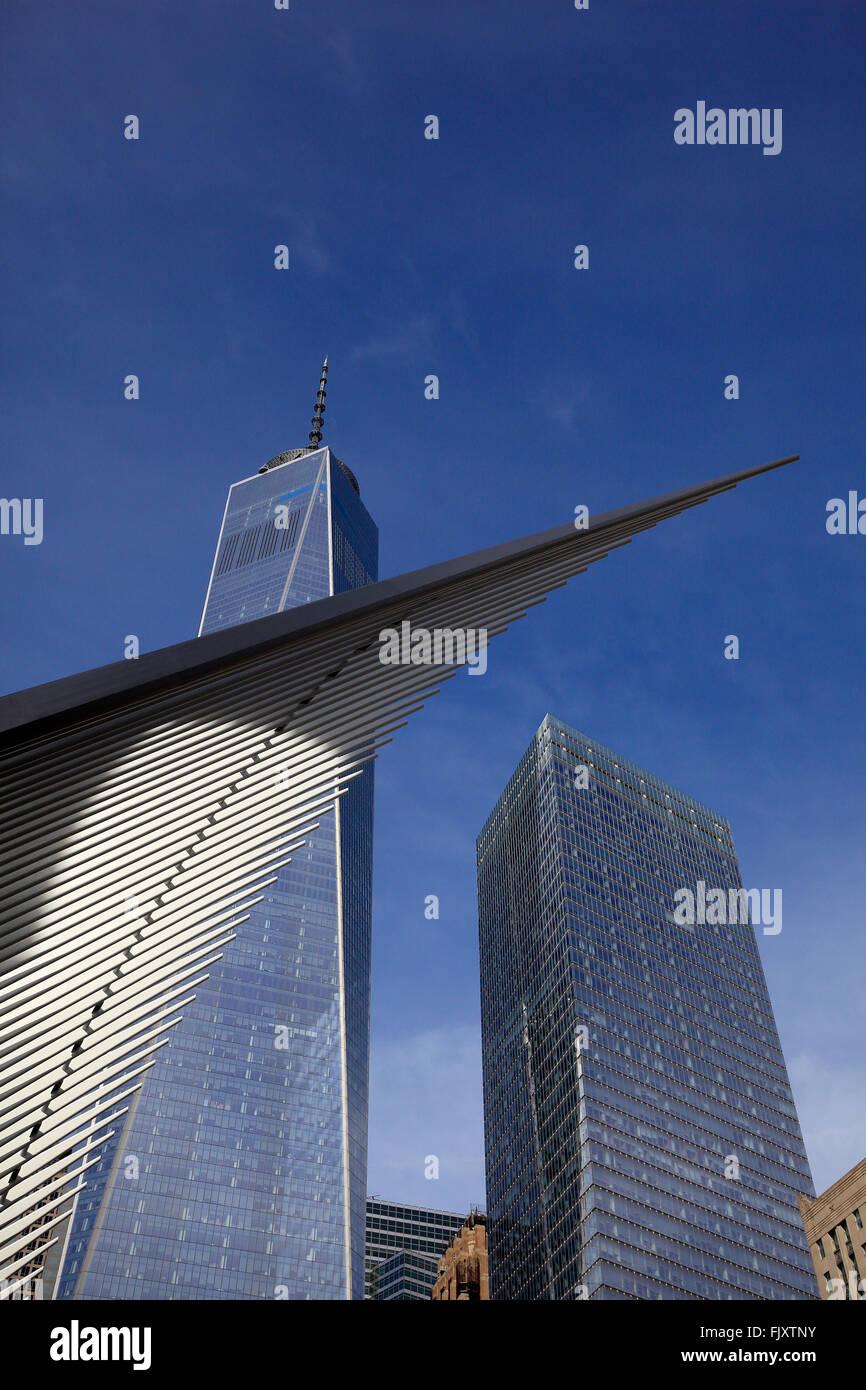 Oculus y WTC en el centro de Manhattan, Ciudad de Nueva York Foto de stock