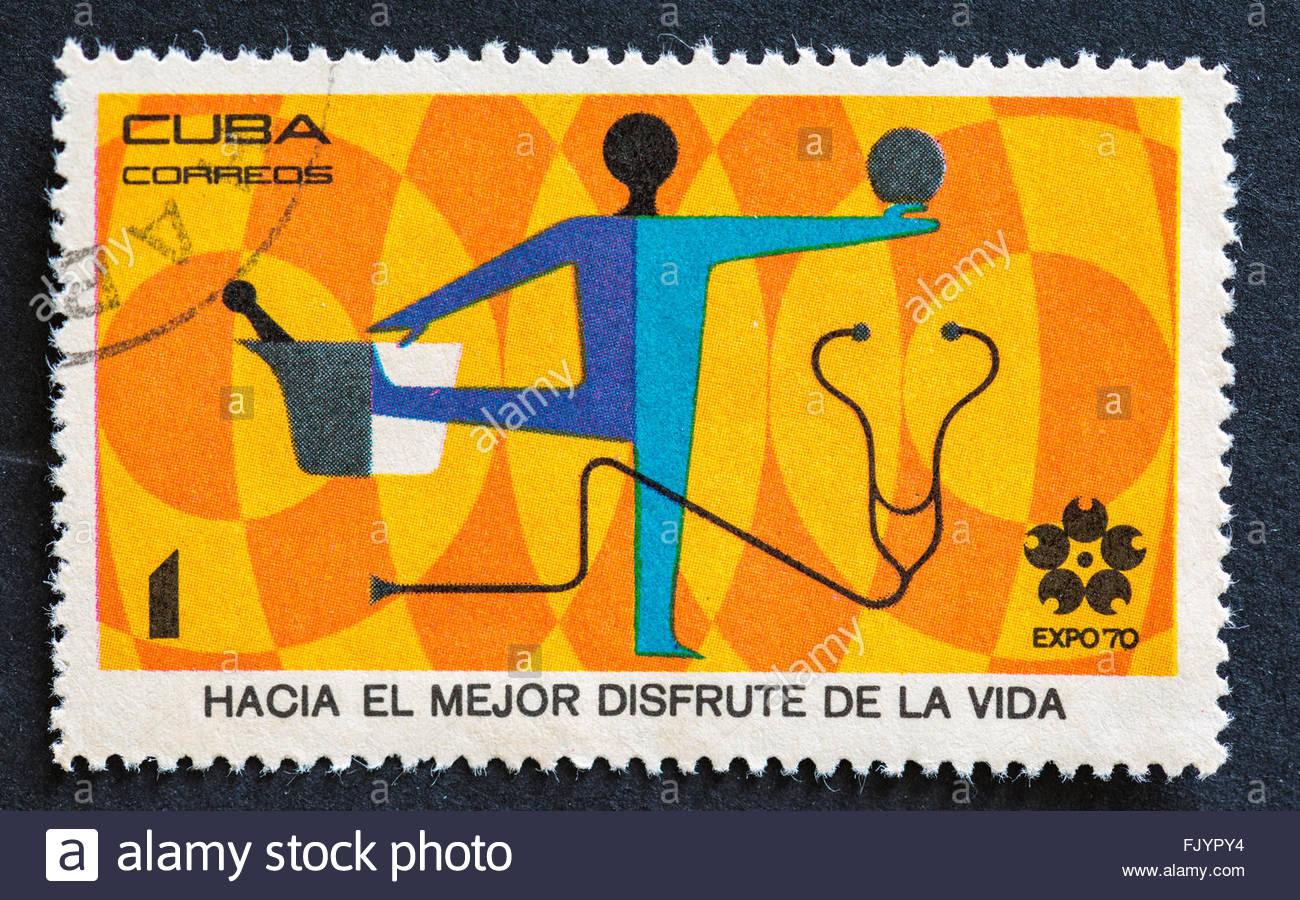 Serie de la Expo 70, para disfrutar de una mejor vida, Vintage sello cubano: Imagen De Stock