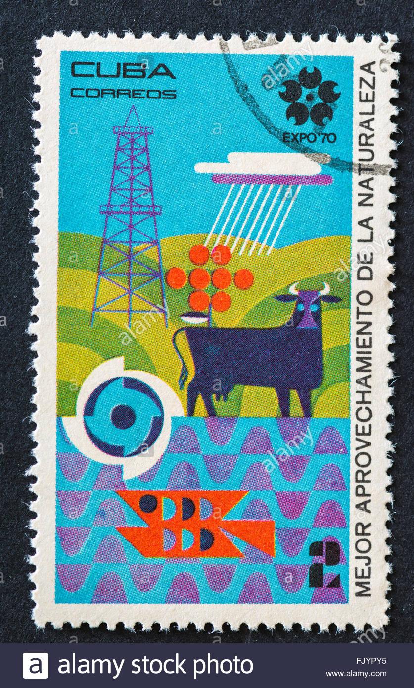 Serie de la Expo 70, un mejor uso de los recursos naturales, Vintage sello cubano: Imagen De Stock