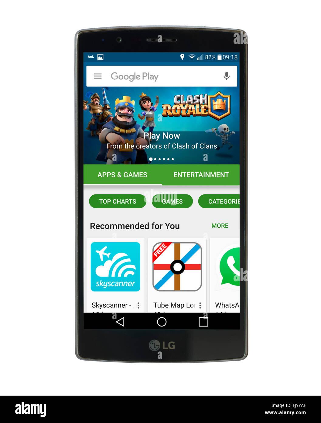 Google Play Store en un LG G4 5,5 pulgadas smartphone Android Imagen De Stock