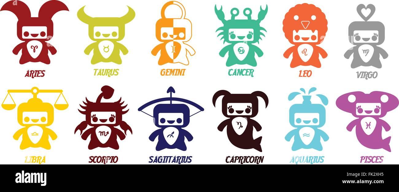 Conjunto De Símbolos Del Zodiaco Astrológico Signos Del Zodiaco