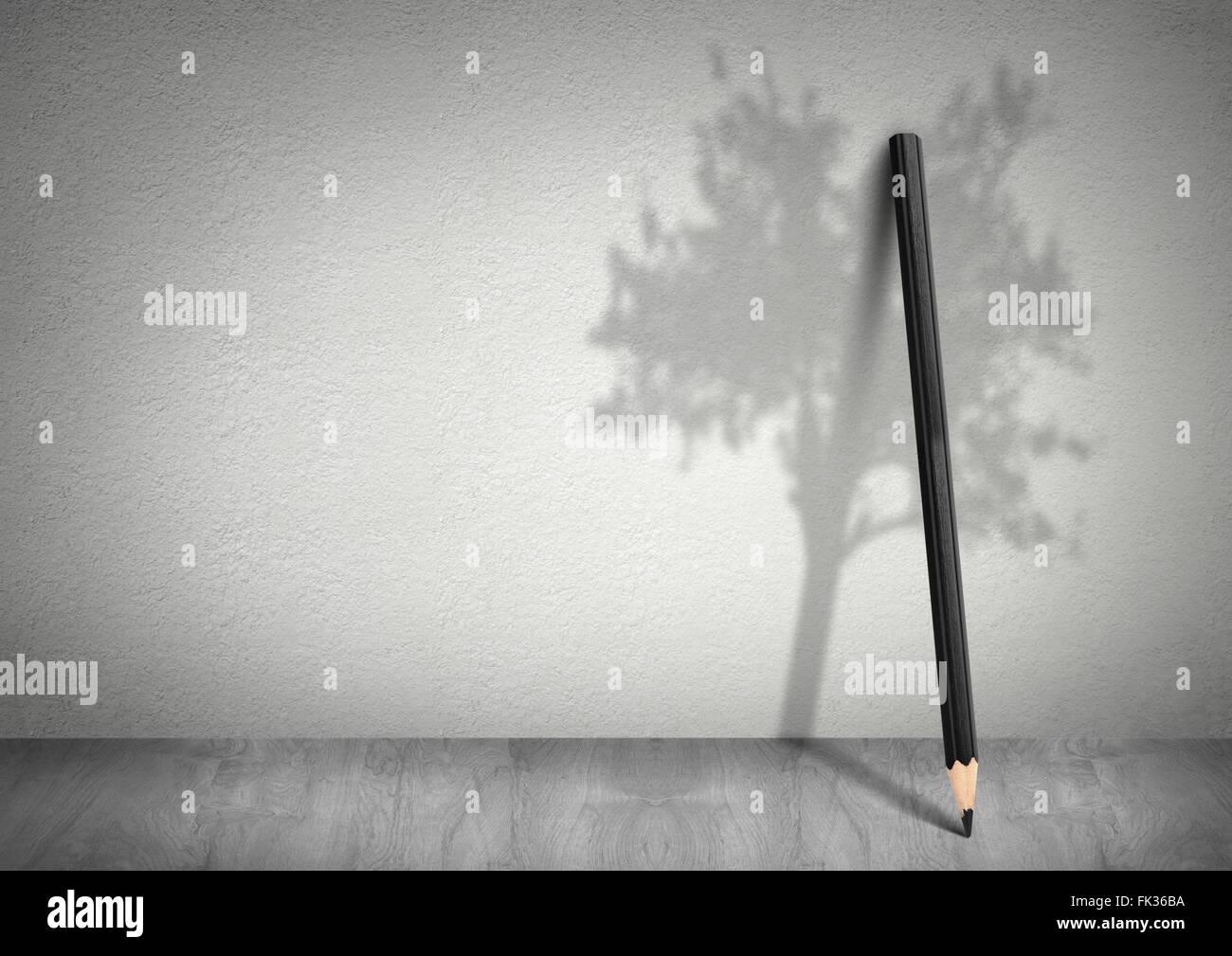 Ecología El concepto creativo, lápiz con sombra de árbol con espacio de copia Imagen De Stock