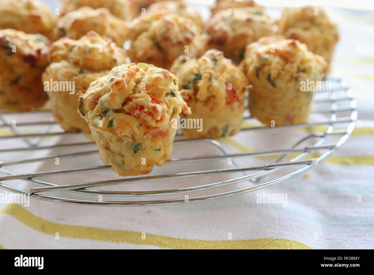 Mini muffins caseros huevo mini quiche, el enfoque selectivo Imagen De Stock