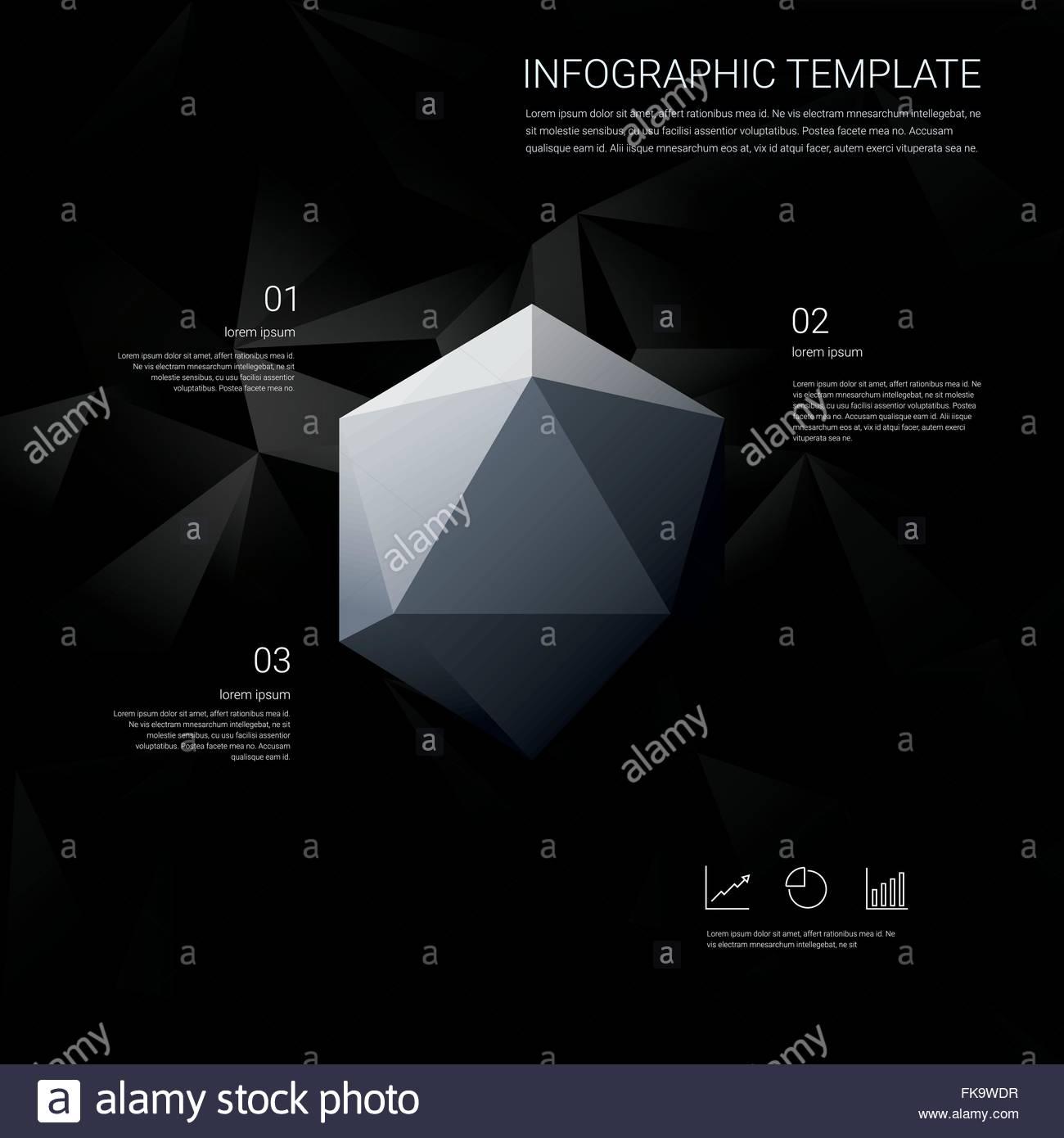1024de713ed71 Negro bajo fondo poly infografía con opciones de menú para presentaciones  de negocios. White Diamond geométricas formas hexagonales.