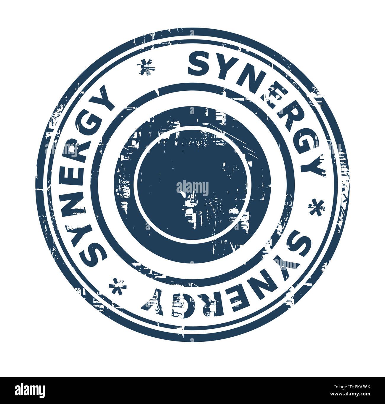 Concepto de sinergia empresarial sello aislado sobre un fondo blanco. Imagen De Stock