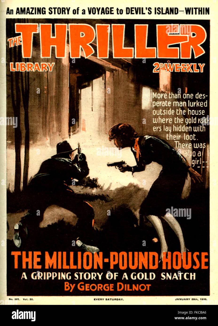Thriller británico de 1930 la portada de la revista Imagen De Stock