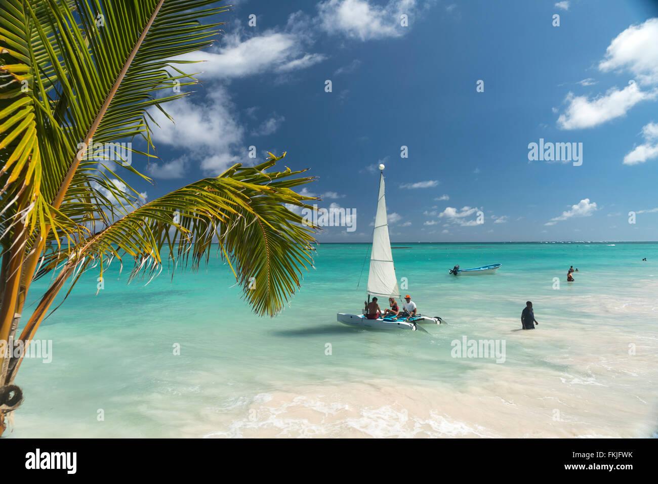 Bote de vela en la playa de Playa Bavaro, Punta Cana, República Dominicana, El Caribe, América, Imagen De Stock