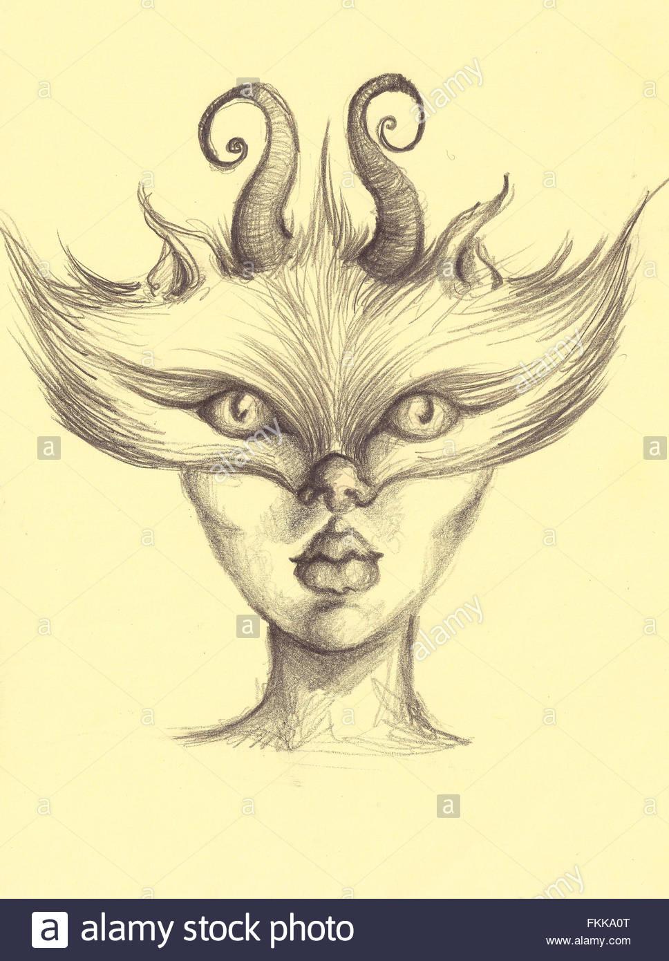 Dibujo A Lápiz De Carbón Máscara De Lobo En La Moda Chica Cara