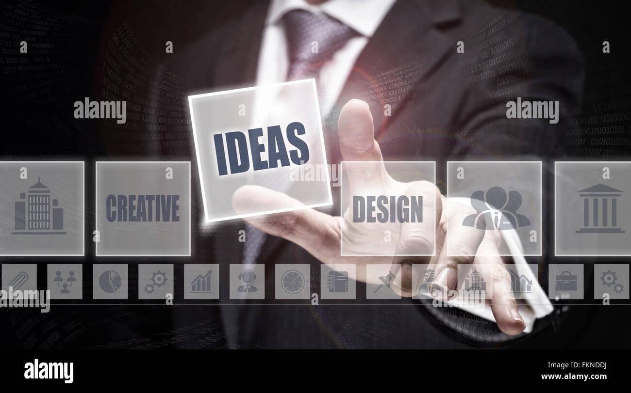 Empresario pulsando un botón Ideas concepto. Foto de stock