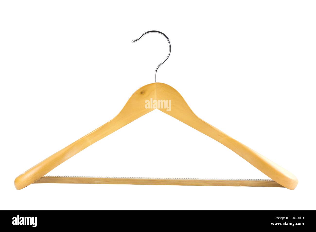 Percha de madera aislado sobre fondo blanco con trazado de recorte Foto de stock