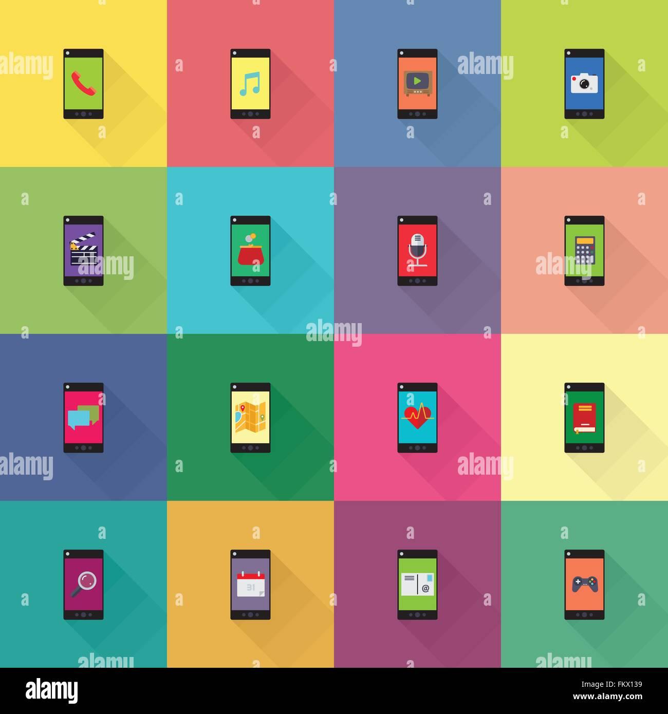 Colección de aplicaciones móviles en teléfonos inteligentes diseño plano iconos Imagen De Stock