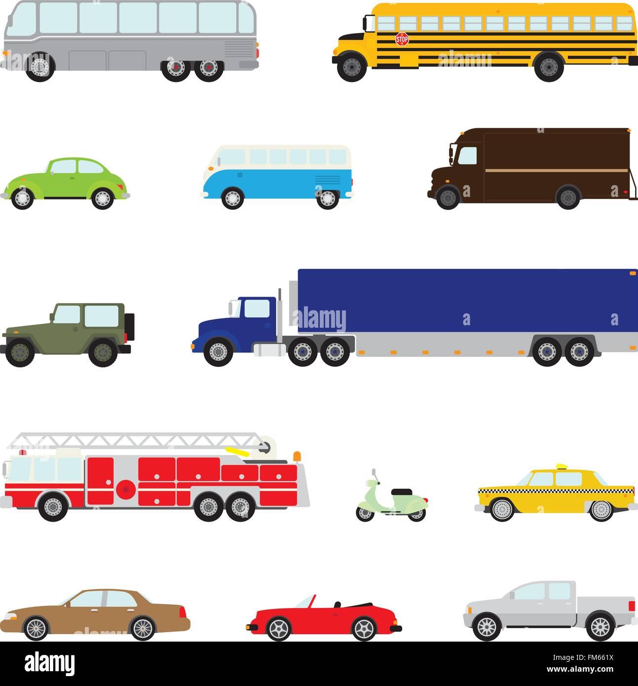 Conjunto de trece vehículos de motor, diseño plano, parte 1 Imagen De Stock