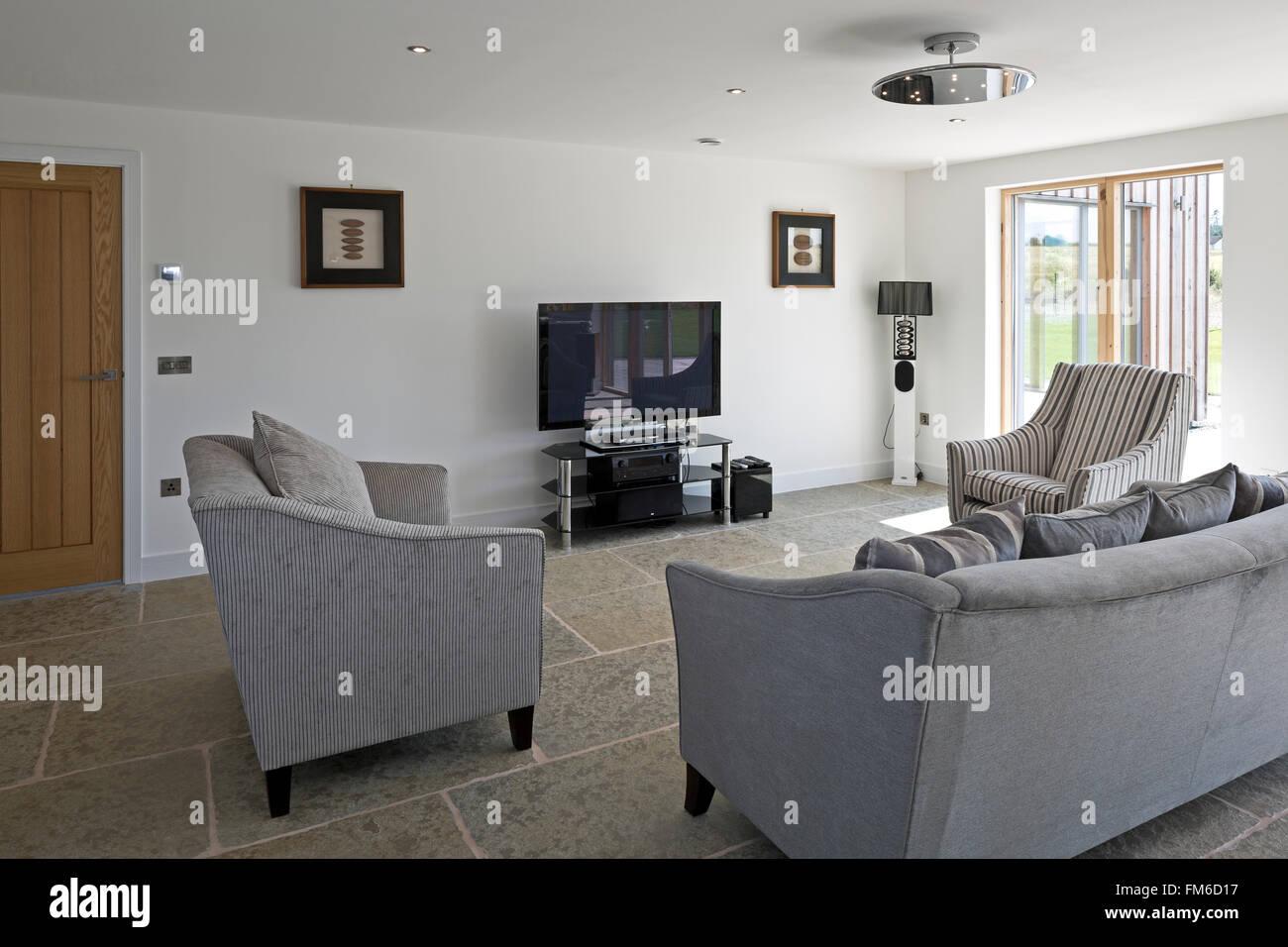 Vista interior de Amor Casa en Gleneagles, diseñado por Allan Corfield Arquitectos. Imagen De Stock