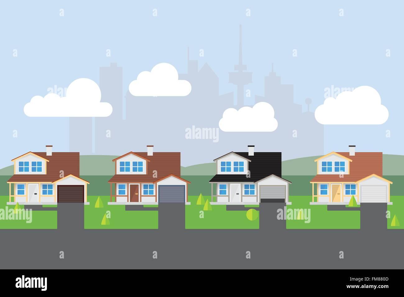 Calle suburbana americana con casi casas similares. Ciudad silueta en el fondo. Diseño plano. Imagen De Stock