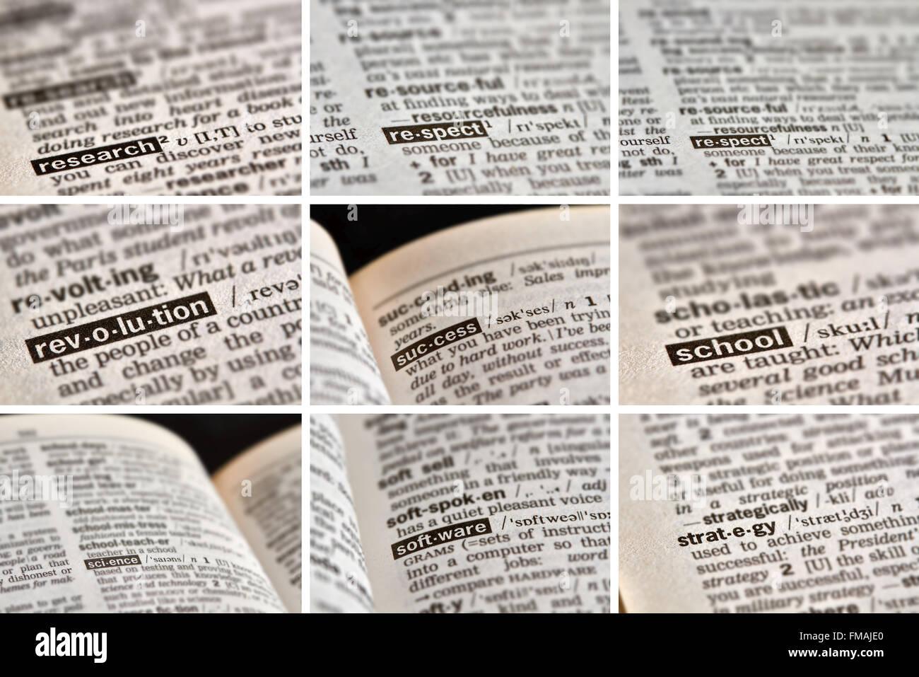Educación El aprendizaje de palabras en el diccionario. Imagen De Stock