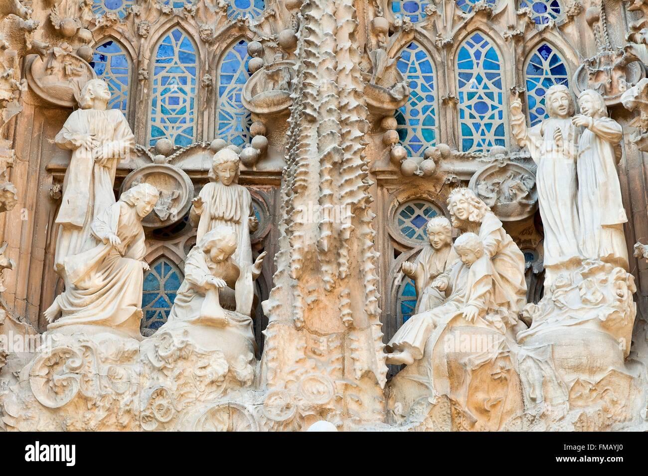 España, Cataluña, Barcelona, la Catedral de la Sagrada Familia listados como Patrimonio Mundial por la UNESCO Foto de stock