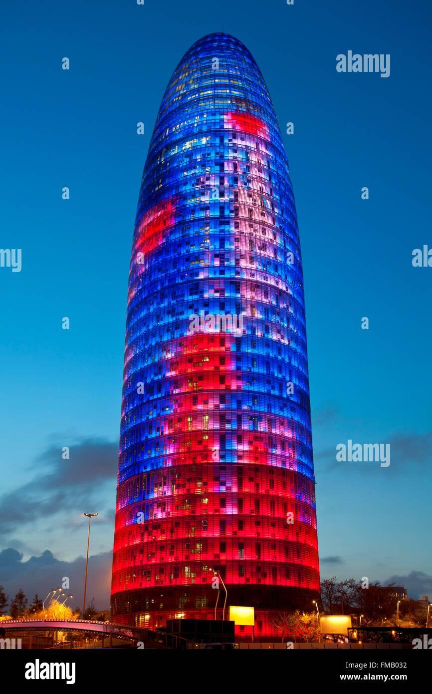 España, Cataluña, Barcelona, la Torre Agbar (Torre Agbar) Imagen De Stock