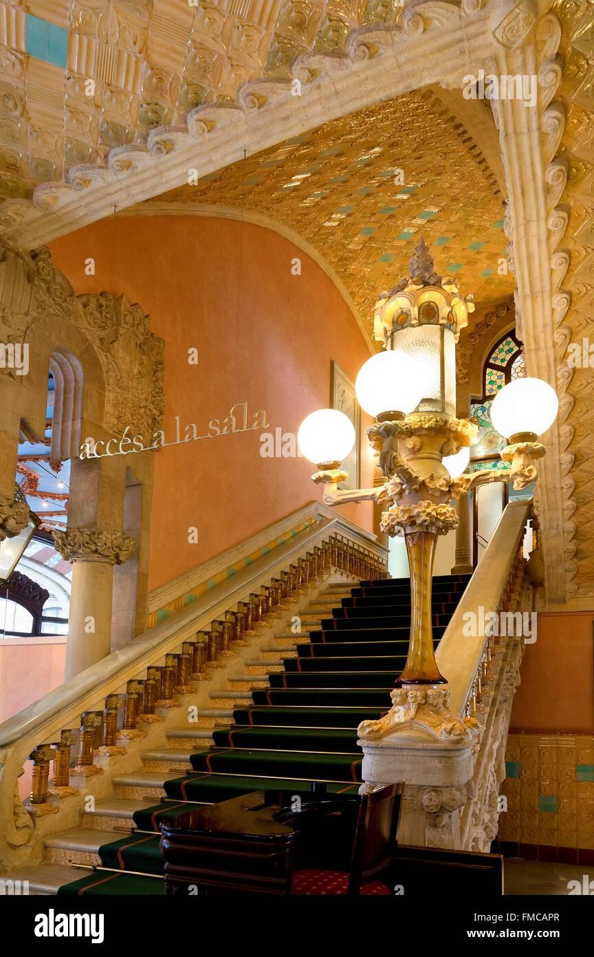 España, Cataluña, Barcelona, el Palau de la Música Catalana (Palacio de la Música Catalana) Imagen De Stock