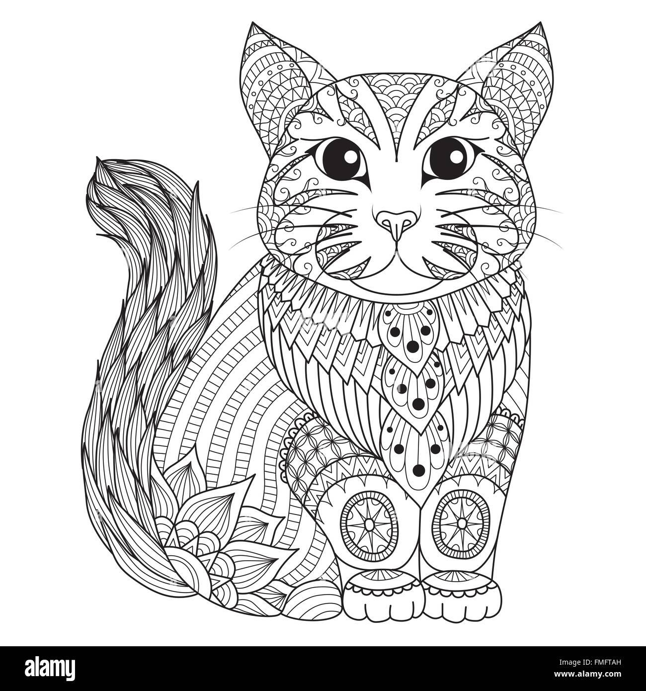 Dibujos para Colorear página zentangle cat, camiseta efecto de ...