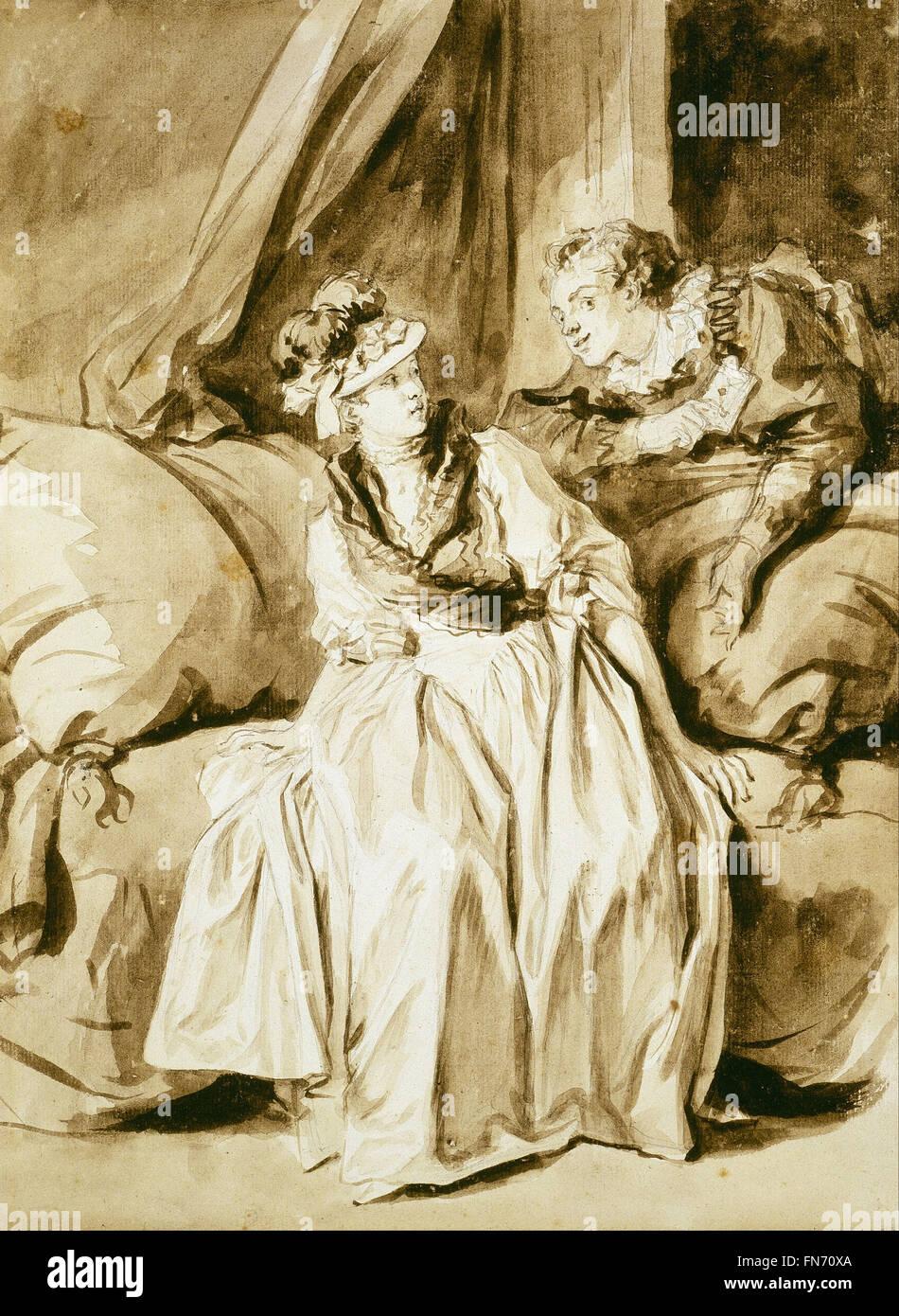Jean Honoré Fragonard - la letra o la conversación en español Foto de stock