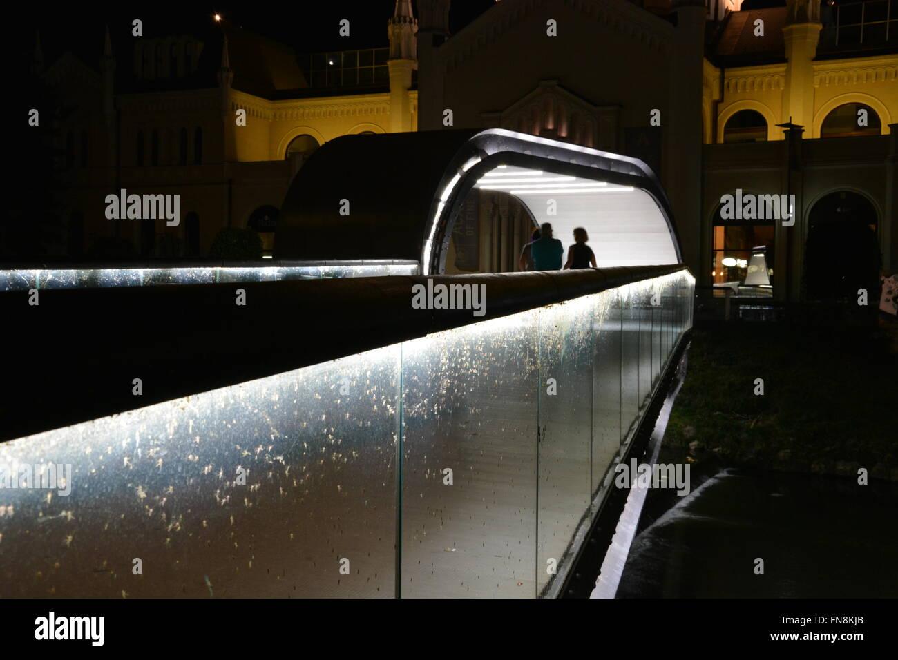 El festina lente puente peatonal conduce a la academia de bellas artes en la noche en Sarajevo, Bosnia y Herzegovina. Imagen De Stock
