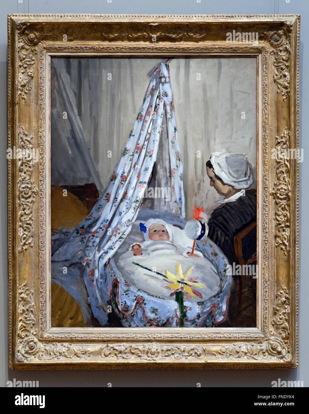 La Cuna - Camille con el Hijo del artista Jean Claude Monet, 1867 Imagen De Stock