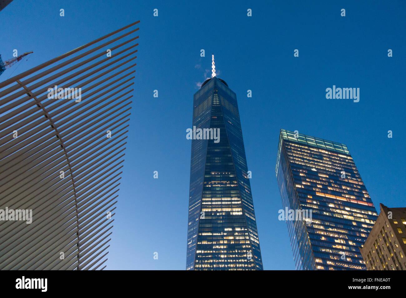 Las torres del World Trade Center en Nueva York uno 1 Freedom Top Imagen De Stock