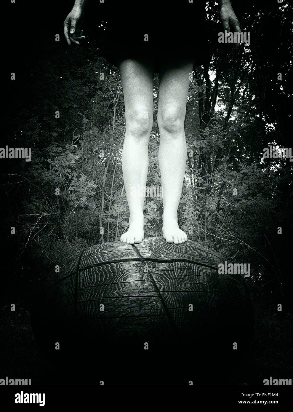 Mujer de pie en la parte superior del objeto de madera circular Foto de stock