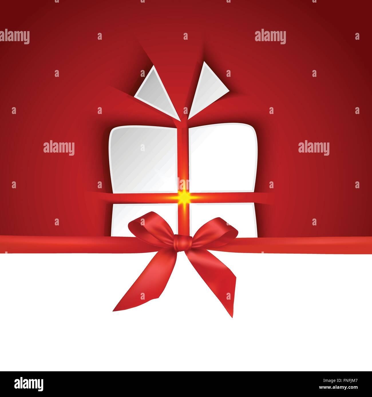 En forma de caja de regalo con cinta roja y efecto de sombra sobre fondo rojo. Imagen De Stock