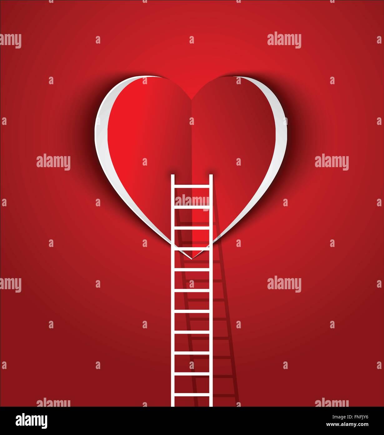 La escalera a su concepto de corazón símbolo de amor y de relación Imagen De Stock