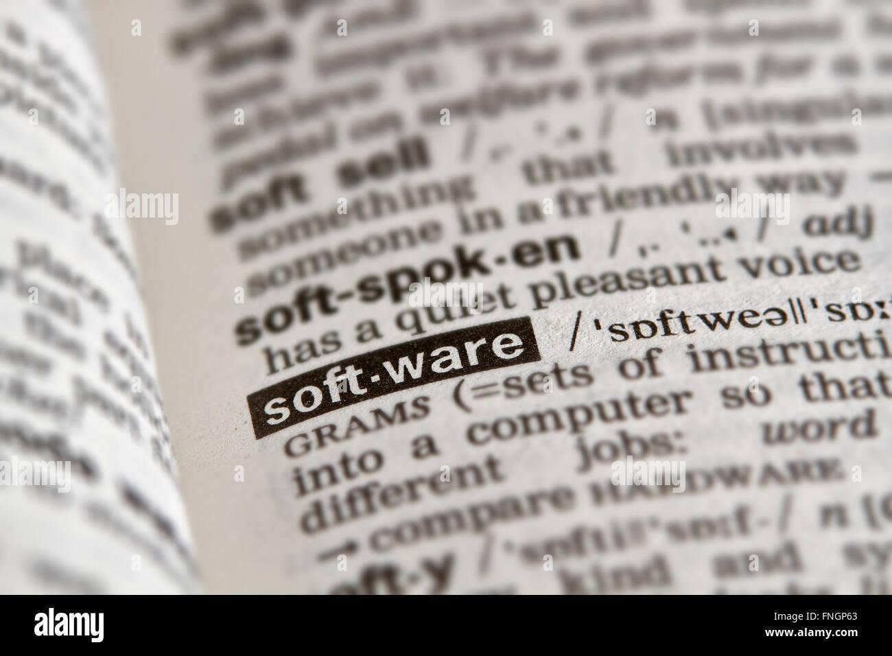 Software Word el texto en la página de definición de diccionario Imagen De Stock