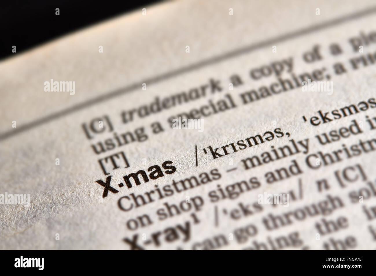 X-mas palabras en el diccionario de texto Definición Página Imagen De Stock