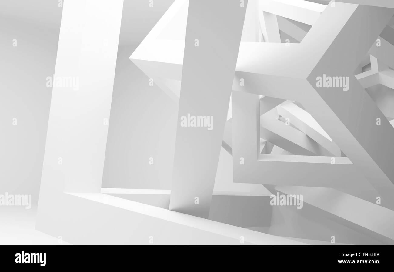 Blanco interior abstracto con caótica construcción de cubos. Ilustración 3d Foto de stock