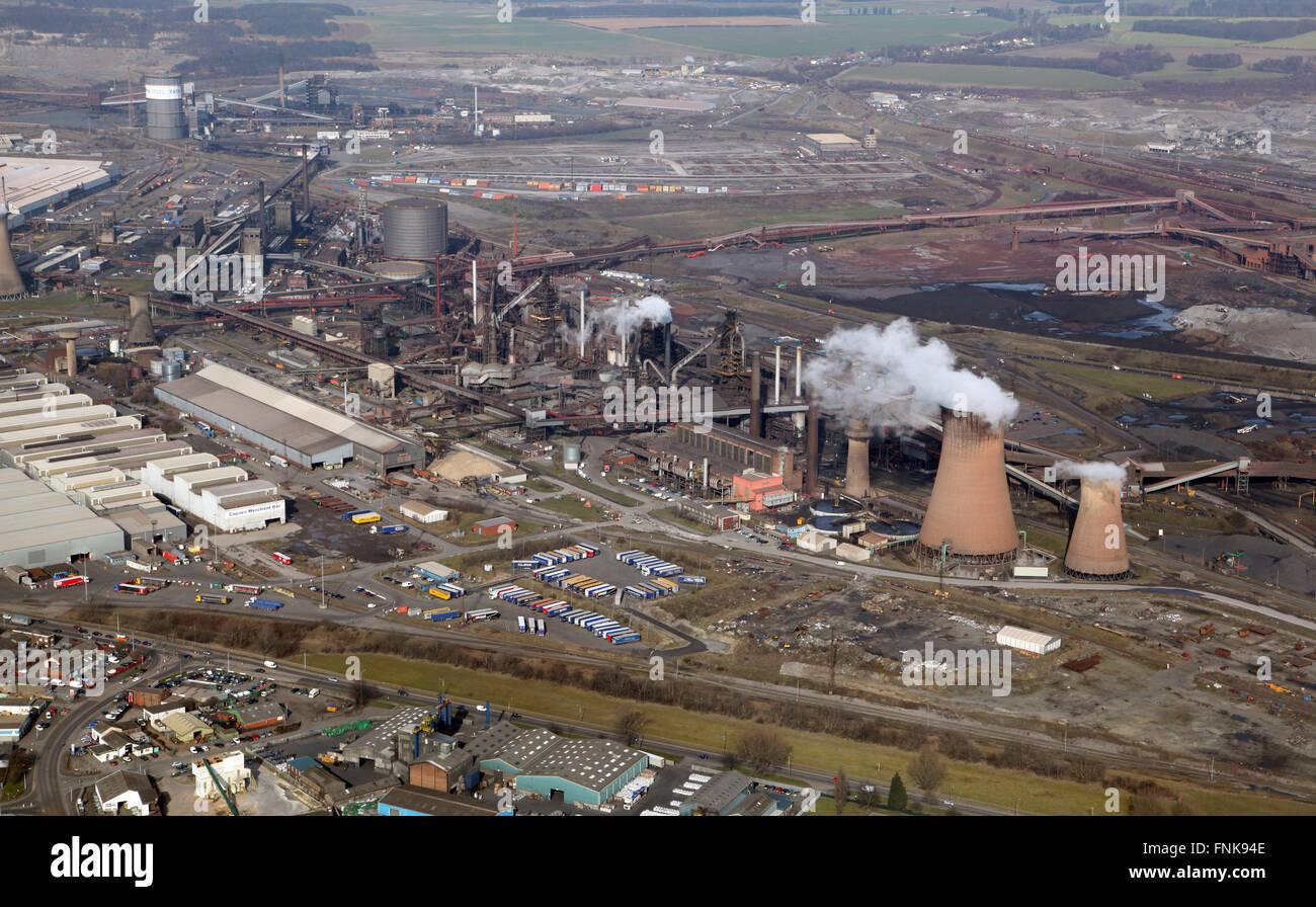 Vista aérea de la British Steel Tata acerías en Scunthorpe, Lincolnshire, Reino Unido Imagen De Stock