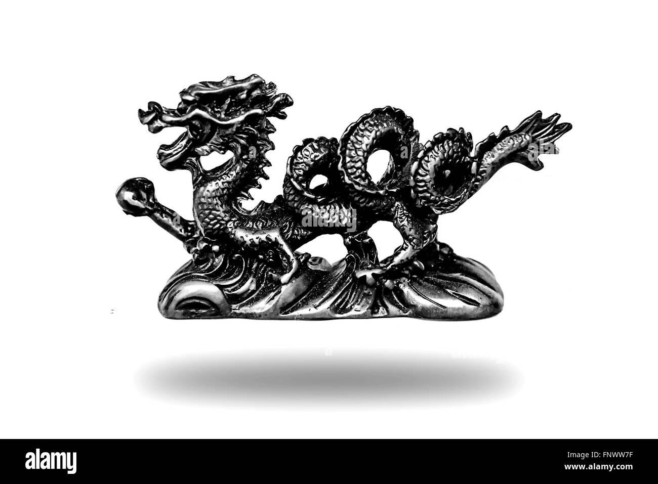 Chino Dragón Guardián Figurillas Estatuas De Color Blanco Y Negro