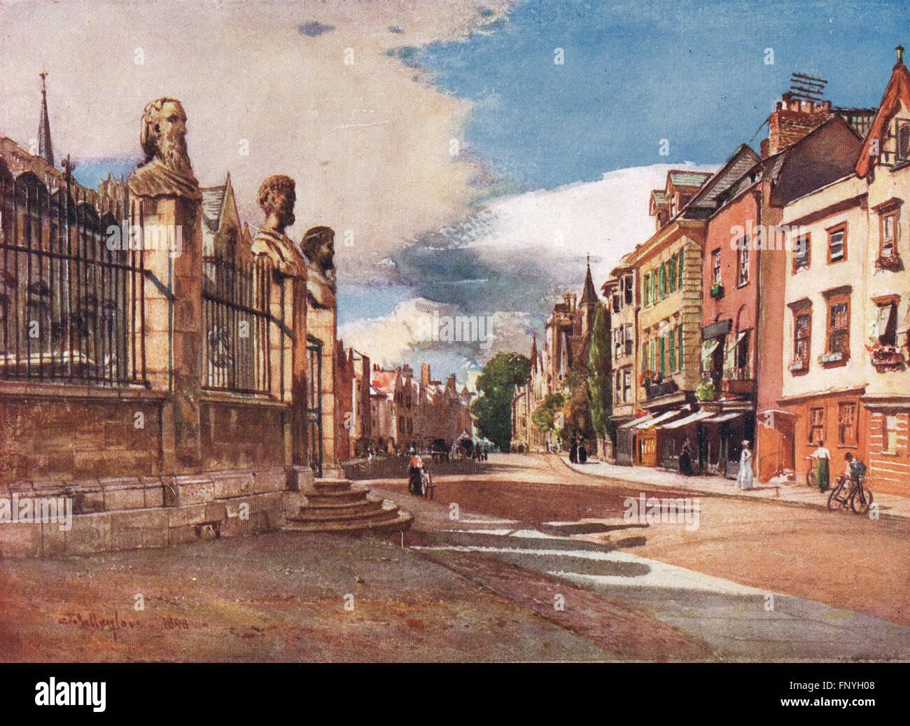 Broad St y las estatuas del Teatro Sheldonian, Oxford de principios del siglo XX. Imagen De Stock